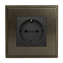 Hamilton Linea-Perlina CFX Etrium Bronze with Etrium Bronze Frame 1 gang 10/16A 220/250V AC German Unswitched Socket