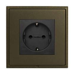 Hamilton Linea-Perlina CFX Richmond Bronze with Richmond Bronze Frame 1 gang 10/16A 220/250V AC German Unswitched Socket
