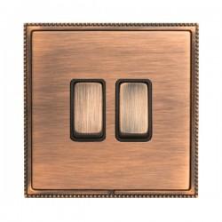Hamilton Linea-Perlina CFX Copper Bronze with Copper Bronze Frame 2 gang 10AX 2 Way Rocker