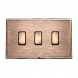 Hamilton Linea-Perlina CFX Copper Bronze with Copper Bronze Frame 3 gang 20AX 2 Way Rocker