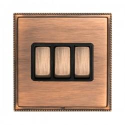 Hamilton Linea-Perlina CFX Copper Bronze with Copper Bronze Frame 3 gang 10AX 2 Way Rocker