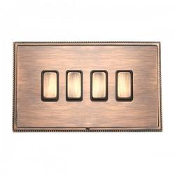 Hamilton Linea-Perlina CFX Copper Bronze with Copper Bronze Frame 4 gang 10AX 2 Way Rocker