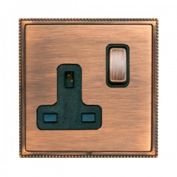 Hamilton Linea-Perlina CFX Copper Bronze with Copper Bronze Frame 1 gang 13A Double Pole Switched Socket
