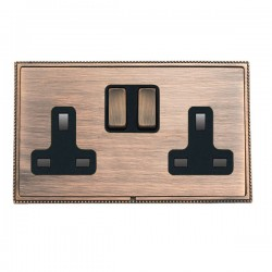 Hamilton Linea-Perlina CFX Copper Bronze with Copper Bronze Frame 2 gang 13A Double Pole Switched Socket