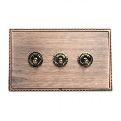 Hamilton Linea-Perlina CFX Copper Bronze with Copper Bronze Frame 3 gang 20AX 2 Way Toggle