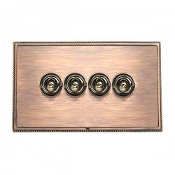 Hamilton Linea-Perlina CFX Copper Bronze with Copper Bronze Frame 4 gang 20AX 2 Way Toggle