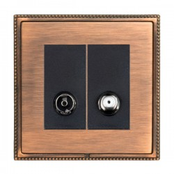 Hamilton Linea-Perlina CFX Copper Bronze with Copper Bronze Frame 2 gang Non-Isolated TV+Satellite 2in/2out