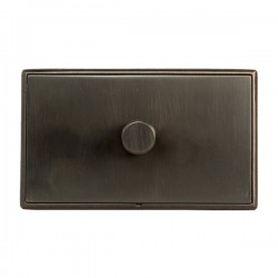 Hamilton Linea-Rondo CFX Etrium Bronze with Etrium Bronze Frame 1 gang 1000W 2 Way Leading Edge Push On/Off Resistive Dimmer
