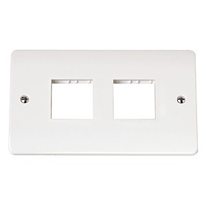 Click Mode Twin 2x2 Aperture White PVC Mini Grid Module Plate
