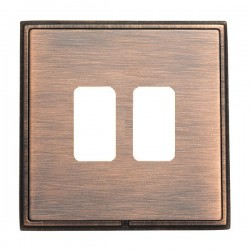 Hamilton Linea-Rondo CFX Copper Bronze with Copper Bronze Frame 2 Gang Grid Fix Aperture Plate with Grid