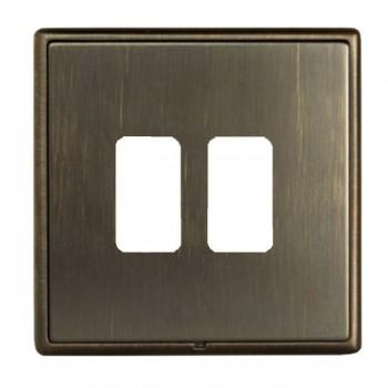 Hamilton Linea-Rondo CFX Etrium Bronze with Etrium Bronze Frame 2 Gang Grid Fix Aperture Plate with Grid