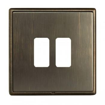 Hamilton Linea-Rondo CFX Richmond Bronze with Richmond Bronze Frame 2 Gang Grid Fix Aperture Plate with Grid