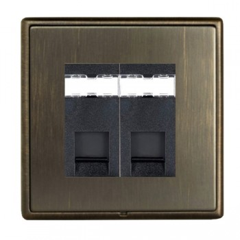 Hamilton Linea-Rondo CFX Etrium Bronze with Etrium Bronze Frame 2 gang Unshielded RJ12 Outlet