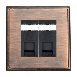 Hamilton Linea-Rondo CFX Copper Bronze with Copper Bronze Frame 2 gang Unshielded RJ45 CAT 5E Outlet