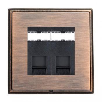 Hamilton Linea-Rondo CFX Copper Bronze with Copper Bronze Frame 2 gang Unshielded RJ45 CAT 5E Outlet