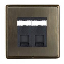 Hamilton Linea-Rondo CFX Etrium Bronze with Etrium Bronze Frame 2 gang Unshielded RJ45 CAT 5E Outlet