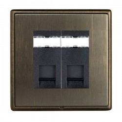 Hamilton Linea-Rondo CFX Richmond Bronze with Richmond Bronze Frame 2 gang Unshielded RJ45 CAT 5E Outlet