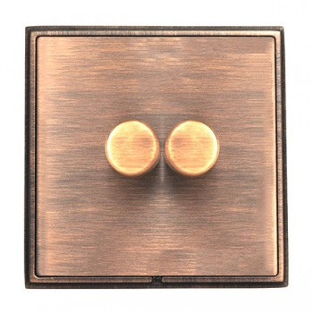 Hamilton Linea-Rondo CFX Copper Bronze with Copper Bronze Frame 2 gang 400W 2 Way Leading Edge Push On/Off Resistive Dimmer
