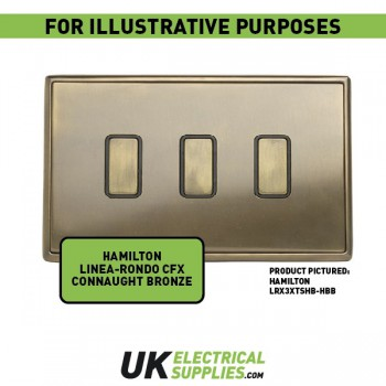 Hamilton Linea-Rondo CFX Connaught Bronze with Connaught Bronze Frame 2 gang 250W/210VA Multi-Way Trailing Edge Push On/Off Dimmer