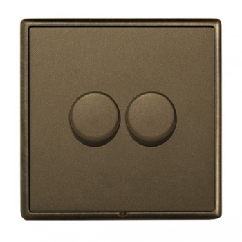 Hamilton Linea-Rondo CFX Richmond Bronze with Richmond Bronze Frame 2 gang 250W/210VA Multi-Way Trailing Edge Push On/Off Dimmer