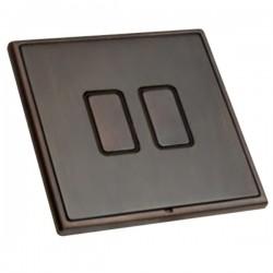 Hamilton Linea-Rondo CFX Etrium Bronze with Etrium Bronze Frame 2 gang 250W/210VA Multi-Way Touch Master ...