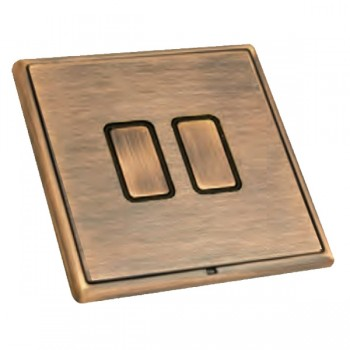 Hamilton Linea-Rondo CFX Copper Bronze with Copper Bronze Frame 2 gang Multi-Way Touch Slave Controller Trailing Edge