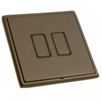 Hamilton Linea-Rondo CFX Richmond Bronze with Richmond Bronze Frame 2 gang Multi-Way Touch Slave Controller Trailing Edge