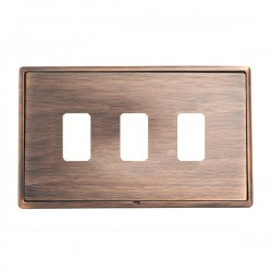 Hamilton Linea-Rondo CFX Copper Bronze with Copper Bronze Frame 3 Gang Grid Fix Aperture Plate with Grid