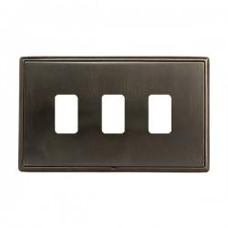 Hamilton Linea-Rondo CFX Etrium Bronze with Etrium Bronze Frame 3 Gang Grid Fix Aperture Plate with Grid