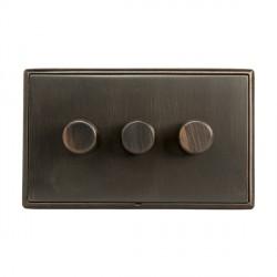 Hamilton Linea-Rondo CFX Etrium Bronze with Etrium Bronze Frame 3 gang 400W 2 Way Leading Edge Push On/Of...