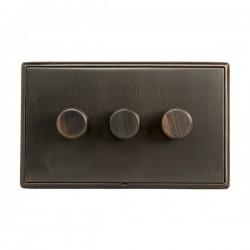 Hamilton Linea-Rondo CFX Etrium Bronze with Etrium Bronze Frame 3 gang 250W/210VA Multi-Way Trailing Edge...