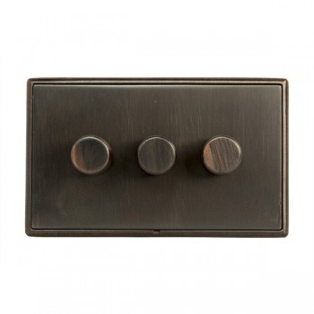 Hamilton Linea-Rondo CFX Etrium Bronze with Etrium Bronze Frame 3 gang 250W/210VA Multi-Way Trailing Edge Push On/Off Dimmer