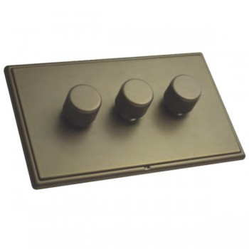 Hamilton Linea-Rondo CFX Richmond Bronze with Richmond Bronze Frame 3 gang 250W/210VA Multi-Way Trailing Edge Push On/Off Dimmer