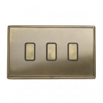 Hamilton Linea-Rondo CFX Connaught Bronze with Connaught Bronze Frame 3 gang Multi-Way Touch Slave Controller Trailing Edge