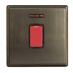 Hamilton Linea-Rondo CFX Etrium Bronze with Etrium Bronze Frame 1 gang 45A Double Pole Rocker and Neon