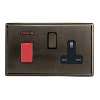 Hamilton Linea-Rondo CFX Etrium Bronze with Etrium Bronze Frame 45A Double Pole Rocker with Neon and 13A Switched Socket