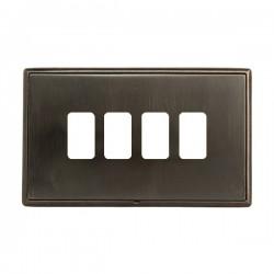 Hamilton Linea-Rondo CFX Etrium Bronze with Etrium Bronze Frame 4 Gang Grid Fix Aperture Plate with Grid