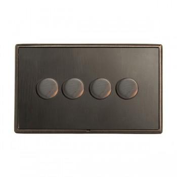 Hamilton Linea-Rondo CFX Etrium Bronze with Etrium Bronze Frame 4 gang 400W 2 Way Leading Edge Push On/Off Resistive Dimmer