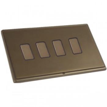 Hamilton Linea-Rondo CFX Richmond Bronze with Richmond Bronze Frame 4 gang 250W/210VA Multi-Way Touch Master Trailing Edge Dimmer