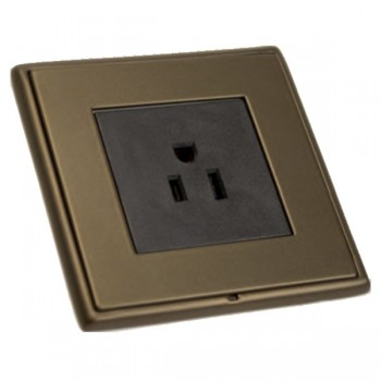 Hamilton Linea-Rondo CFX Richmond Bronze with Richmond Bronze Frame 1 gang 15A 110V AC American Unswitched Socket