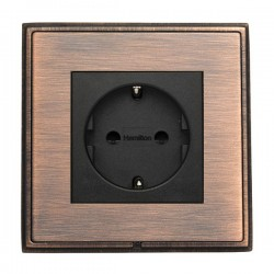 Hamilton Linea-Rondo CFX Copper Bronze with Copper Bronze Frame 1 gang 10/16A 220/250V AC German Unswitched Socket