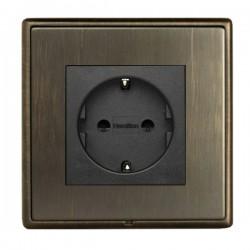 Hamilton Linea-Rondo CFX Etrium Bronze with Etrium Bronze Frame 1 gang 10/16A 220/250V AC German Unswitched Socket