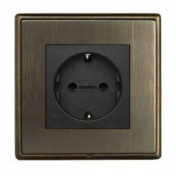 Hamilton Linea-Rondo CFX Richmond Bronze with Richmond Bronze Frame 1 gang 10/16A 220/250V AC German Unswitched Socket