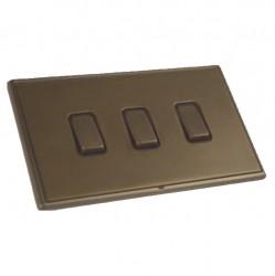 Hamilton Linea-Rondo CFX Richmond Bronze with Richmond Bronze Frame 3 gang 20AX 2 Way Rocker