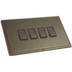 Hamilton Linea-Rondo CFX Richmond Bronze with Richmond Bronze Frame 4 gang 10AX 2 Way Rocker