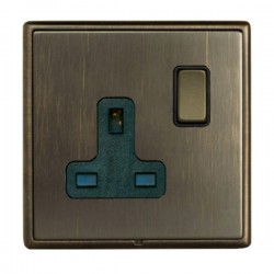 Hamilton Linea-Rondo CFX Richmond Bronze with Richmond Bronze Frame 1 gang 13A Double Pole Switched Socket