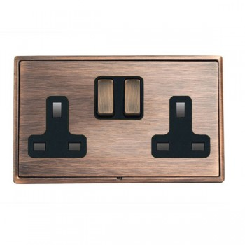 Hamilton Linea-Rondo CFX Copper Bronze with Copper Bronze Frame 2 gang 13A Double Pole Switched Socket
