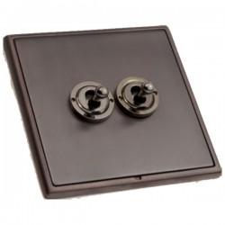 Hamilton Linea-Rondo CFX Etrium Bronze with Etrium Bronze Frame 2 gang 20AX 2 Way Toggle