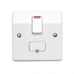 MK Electric Logic Plus™ White 13A Double Pole Switched Fused Connection Unit with Flex Outlet and Neon ...