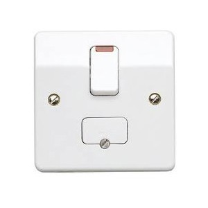 MK Electric Logic Plus™ White 13A Double Pole Switched Fused Connection Unit with Flex Outlet and Neon Indicator